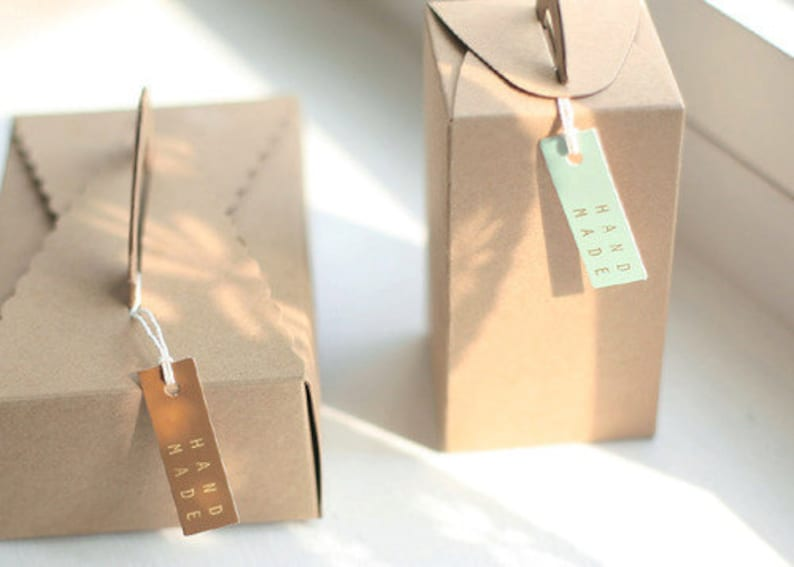1.8 x 0.6in 20 Handmade Square Tags Mint