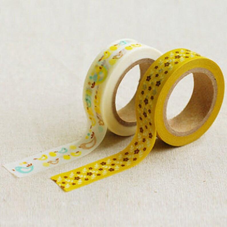 Bonny Bird Mustard Flower Adhesive Masking Tapes 2 Set 0.6in