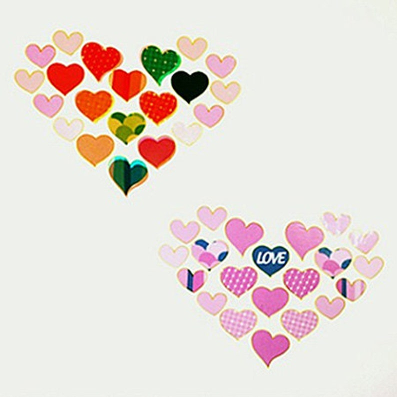 4 sheets Sensitive Transparent Stickers  Heart 3.5 x 9.5in