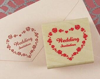 Wedding Invitation Rose Heart Stamp (1.6 x 1.6in)