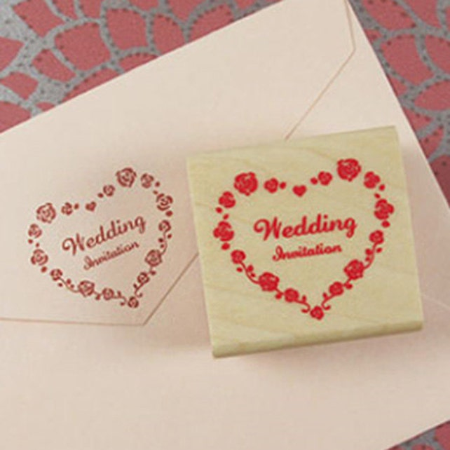 Wedding Invitation Rose Heart Stamp (1.6 x 1.6in)