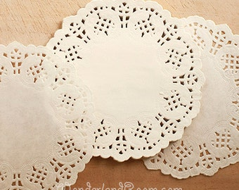 100 Flower Lace Paper Doilies - S (4.5in)