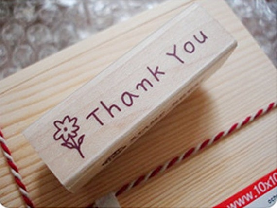Flower Thank You Stamp (2.4 x 0.7in)