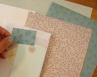 Retro Landscape Paper Stickers / Floral - 2 sheets (8.3 x 5.9in)