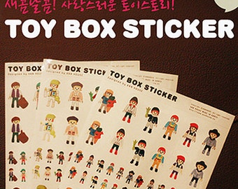 Toy box Stickers - 3 sheets (5.8 x 8.2in)