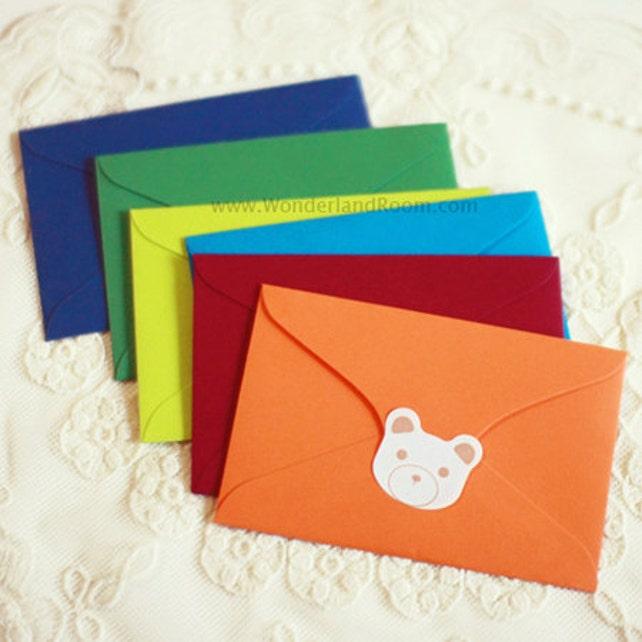6 Colorful Mini Envelopes (4.1 x 2.7in)