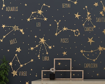 ab46b6114703f Zodiac Constellations and Star Decals | Large Collection | Wall Decals |  Stickers | Murals | Free Shipping