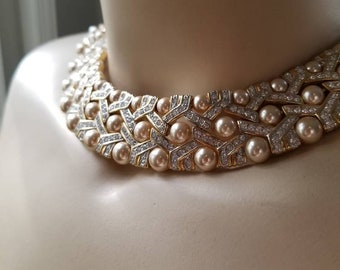 Pearl and Rhinestone Necklace   Collar Necklace Wedding   Heirloom Bridal Jewelry   Vintage Carolee Necklace   Mother of the Bride   OOAK