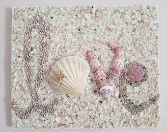 Love Sign Sea Shell-Encrusted Love Wall Sign   Sea shell Signs Decor   Beach Coastal Themed Custom Signage   Sea Shell Wall Decor