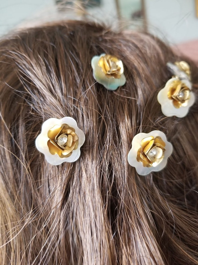 Flower hair pin and bobby pin Wedding day flower girl hair accessories bridal hair accessory prom hair pins boho bride Flower hair pins