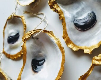 Gilded Rimmed Oyster Shell Ornaments-Set of 6 / Beach theme Trim a Tree Oyster Christmas Ornaments Lot #346