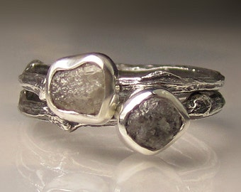 Rough Diamond Stacking Twig Ring Set in Recycled Sterling - Made to Order