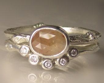 Rose Cut Diamond Engagement Ring, Rough Cut Diamond Wedding Set, Rose Cut Diamond Twig Ring