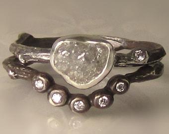 Raw Diamond Twig Ring, Rough Diamond Ring, Rough Diamond Engagement Set