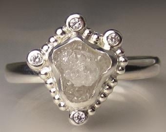 Granulated Raw Diamond Ring, White Rough Diamond Engagement Ring, Rough Diamond Halo Ring