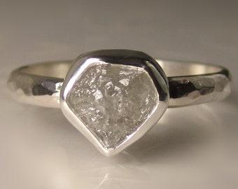 Raw Diamond Engagement Ring, Rough Diamond Ring, Palladium Sterling Silver Hammered Diamond Ring, 1.74 Carats