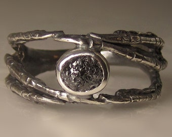Raw Diamond Talon Ring in Recycled Sterling Silver, Black Rough Diamond Engagement Ring, Diamond Claw Ring