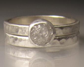 Custom Raw Diamond Ring, Hammered Rough Diamond Ring, Palladium Sterling Silver, Made to Order