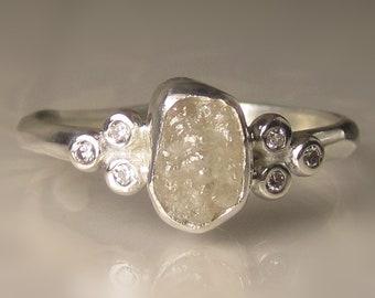 Raw Diamond Cluster Ring, White Raw Diamond Engagement Ring, Rough Diamond Ring
