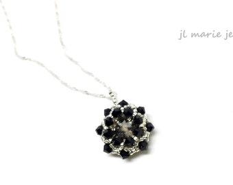 black crystal pendant necklace . swarovski crystal . pale gold . silver . unique . gift idea . bridesmaid .