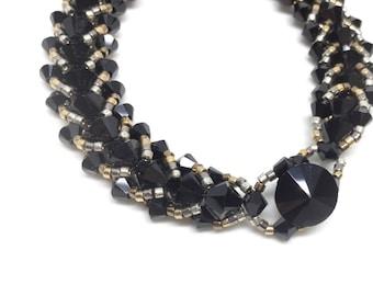 mixed metals black swarovski crystal bracelet . black . silver . steel . gold . bronze . urban . modern