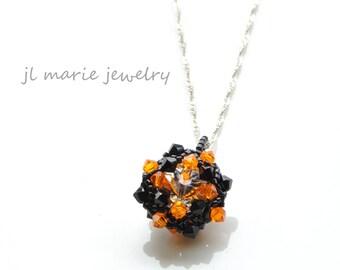 black & orange necklace . swarovski crystal pendant . princeton . bhs . halloween . oklahoma state . oregon state . san francisco giants