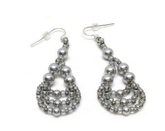 silver pearl lightweight earrings . swarovski pearl . silver . dangle . drop .  gray . grey . custom bridesmaid earrings .