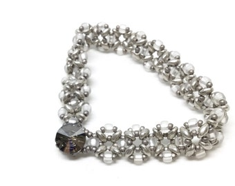 silver and white . czech bracelet .  glass beaded . bracelet . gift idea . unique . delicate . sophisticated