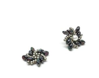 hematite & light gold earring jackets . dark gray earrings . gift idea . versatile . sophisticated