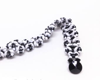 black and white stripe tweed . glass beaded . czech glass bracelet . gift idea . unique . delicate . sophisticated
