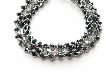 gray metallic swarovski crystal bracelet . black . silver . crystal . grey . gray . urban . modern . deco skyline .