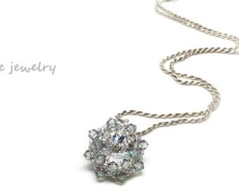 swarovski crystal pendant gray paradise shine necklace . green grey purple blue . bridesmaid jewelry  . pastel . gift idea .