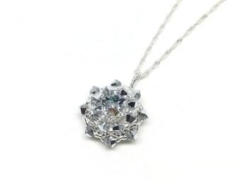 silver swarovski crystal pendant necklace . silver . crystal necklace . bridesmaid . gift idea .
