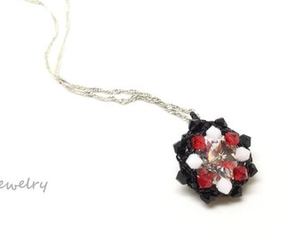 red, black & white necklace . blackhawks . hawks . bulls . chicago . niu . northern il . univ of georgia . swarovski crystal .