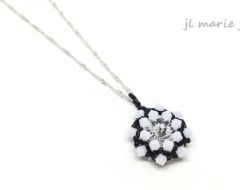 black & white pendant necklace . crystal . swarovski . necklace . gift idea . unique .