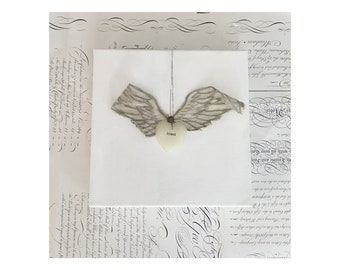 Free Machine Embroidered Wings on Hand Painted Canvas.