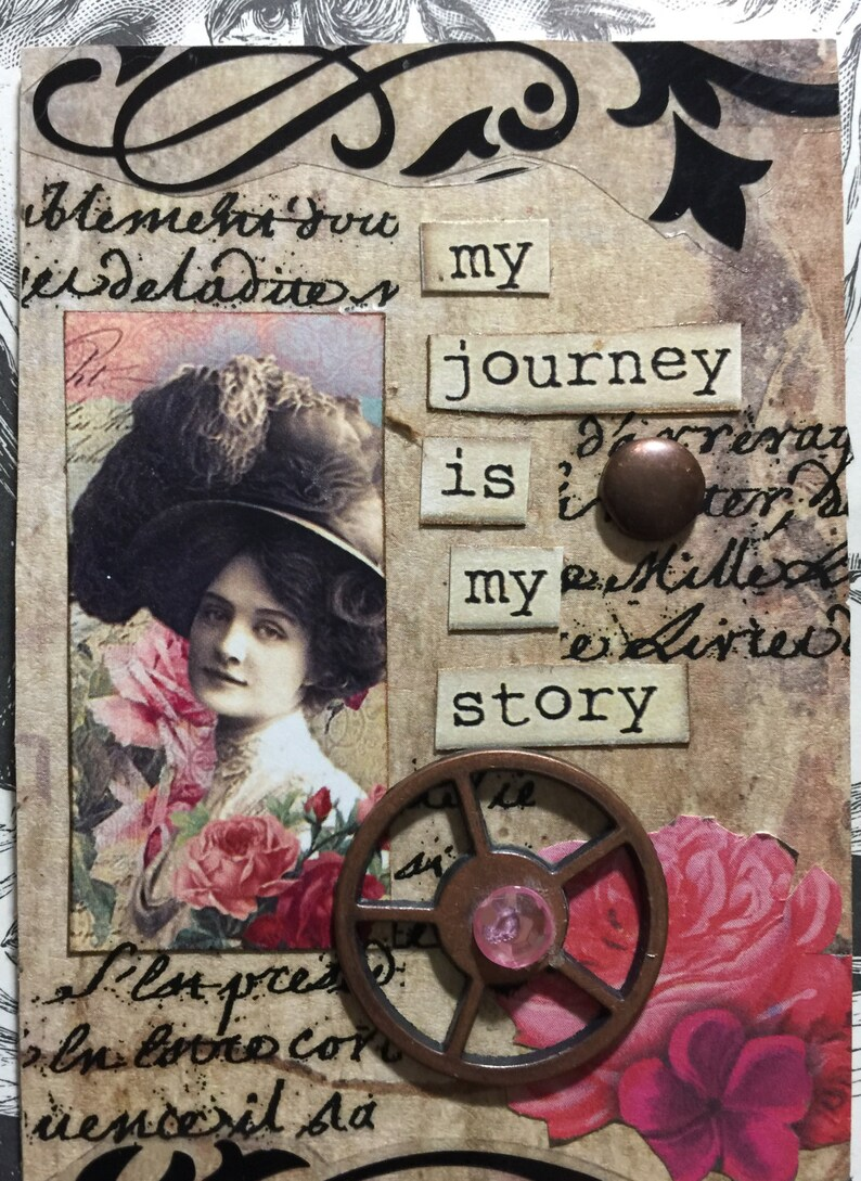 My Story AcEo Artist Trading Card Etsy  Self Help Mixed Media ACEO Alteredhead On Etsy Valentine ATC Original Handmade Design On Etsy