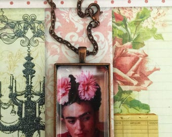 Homage To Frida Kahlo 2 ,Pendant Necklace,Pendant Necklaces,Frida Kahlo Jewelry, Artist, Iconic,Multicultural Jewelry,Domino Pendant