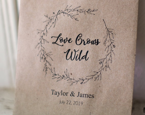 Love Grows Wild - Seeds Favor Bags - Wedding Favors - Seed Toss - Outdoor Send Off - 4 x 6 inch Kraft Paper Rustic Bags