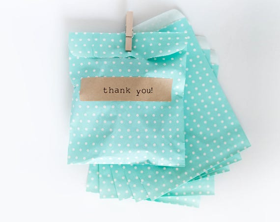 Lot of 12  Teal Polk-a-dot Paper MERCHANDISE BAGS  || Wedding Favor Bags, Treat Bags, Candy Buffet Bags, Mint, Baby Shower