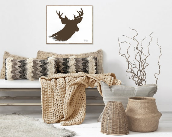 Deer Antlers Matte Print- Various Sizes  | Wall Art, Modern Farmhouse Decor, Brown Deer Antlers Painting, Scandinavian Decor