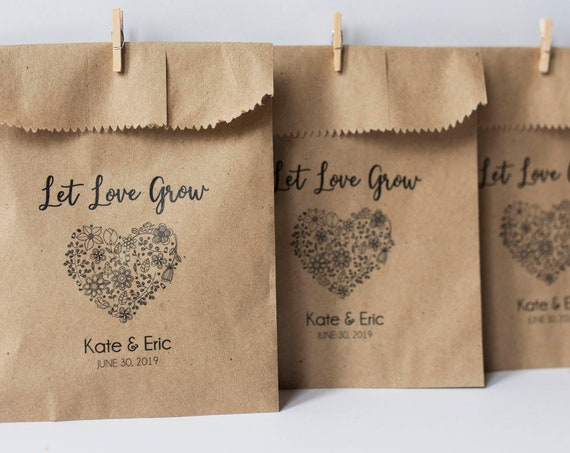 Personalized Seed Toss Bags-  4 x 6 inch Kraft Paper Bags for wedding favors