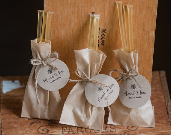 100 % Pure Honey Stick Favors - Set of 100 -  for Weddings, Showers, Parties & More