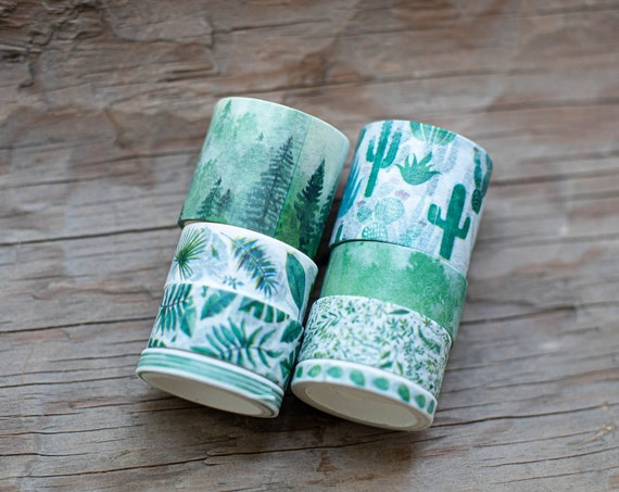 Mountains, Forrest, Cactus and Tropical Leaf - Washi Tape Set
