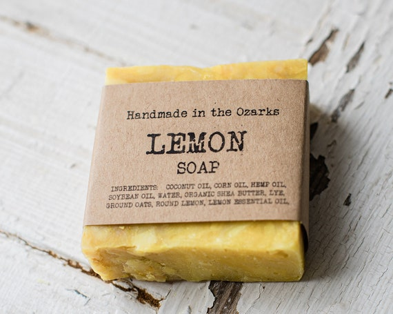 LEMON Soap Bar- 5 oz - Exfoliating and moisturizing handmade soap