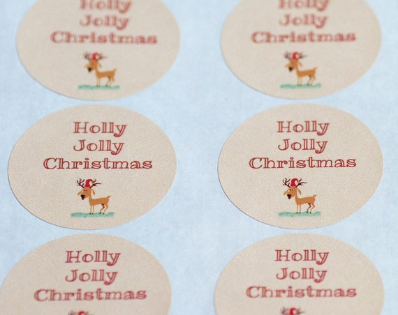Holly Jolly Christmas Circle Stickers - 1.67  in- Set of 24 - Planners, Scrap booking, Invitations, Party Favors, Christmas Wrapping, Santa