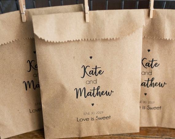 Wedding Favor Bags -  5 x 7.5 inch Kraft Paper Rustic Bags