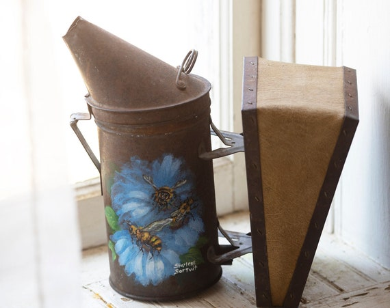 Vintage Bee Smoker - by Dadant & Sons Inc. - Hand painted - Bee Keeping Supplies and Decor - Bee Farm House