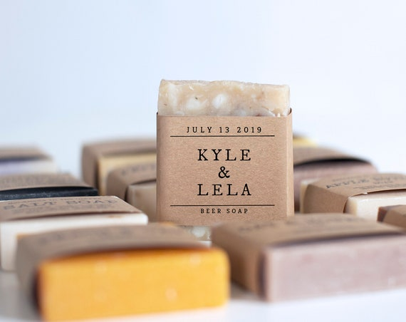 Rustic Soap Favors for Weddings or Showers - Pick your scent - Personalize your wrap design or add a custom logo