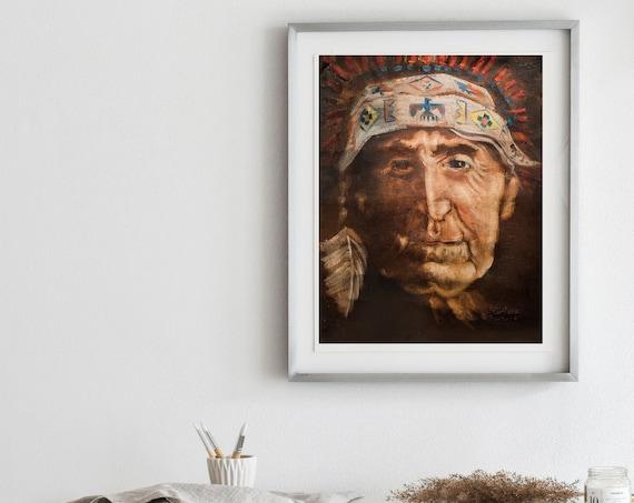 Native American Elder - Oil Painting Replica Prints - Native Art, Eagle Feather, Native Headdress